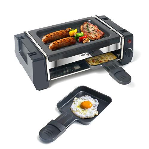 Mini Raclette, Raclette Grill für 1 bis 2 Personen, Antihaftbeschichteten Grillplatte, Temperaturregelung, 2 Pfannen & Holzspatel, 500W - Schwarz