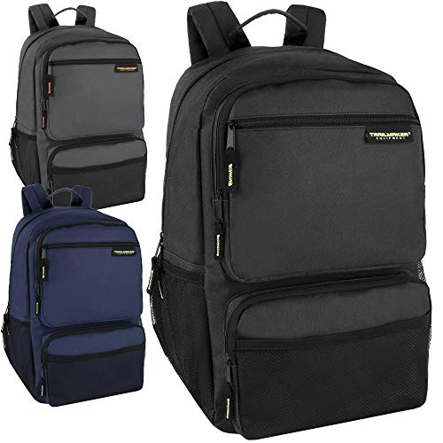 24 Pack Wholesale Trailmaker Double Compartment Multipocket Backpacks with Padding in Bulk