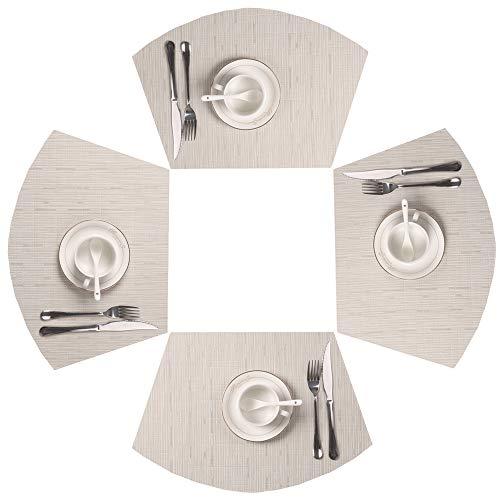 SHACOS Set de Table en PVC Lavable résistant à la Chaleur tressé/tissé Sets de Table Lot de 4(Beige)