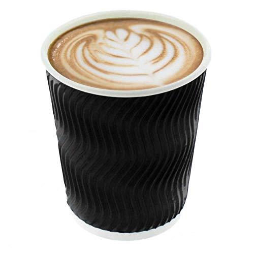 T24 500 Stk.Premium To Go Pappbecher Kaffeebecher 200 ml Papbecher Pappbecher Coffeebecher, schwarz
