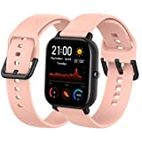 Th-some Correa para Amazfit GTS Smartwatch Reloj de Pulsera Compatible con Amazfit GTS/Amazfit Bip/Amazfit GTR 42mm Band Silicona (Rosa)