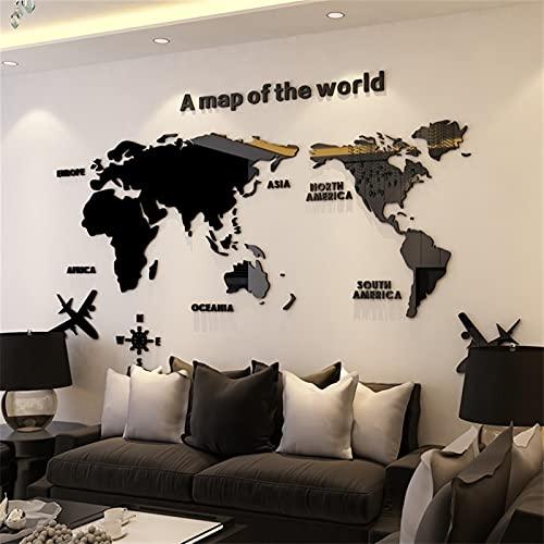 NLLeZ 1 stück 3D wandaufkleber acryl Wand Dekorationen Wohnzimmer Schlafzimmer welkkarte Aufkleber wohnkultur 5 größen Einteiler tapete (Farbe : Schwarz, Größe : XXL 2.8x1.4m)