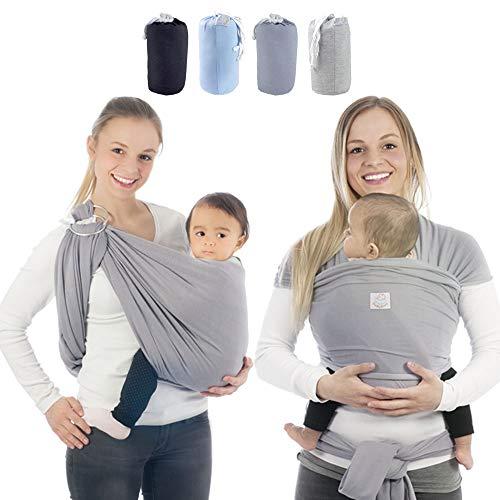 Babytragetuch & Ring Sling 2 in1, Elastisches Baby Tragetuch mit Aluminium-Ringe für Neugeborene. Babytrage & Tragehilfe mit Trageanleitung. Ergobaby BabyBino Wickeltuch das perfekte Geschenk.grau