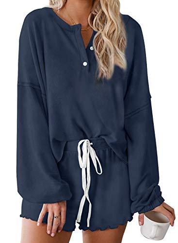 Women's Tie-Dye Pajama-Sets Long-Sleeve Tee Tops and Ruffle Short PJ Set Loungewear Nightwear Sleepwear
