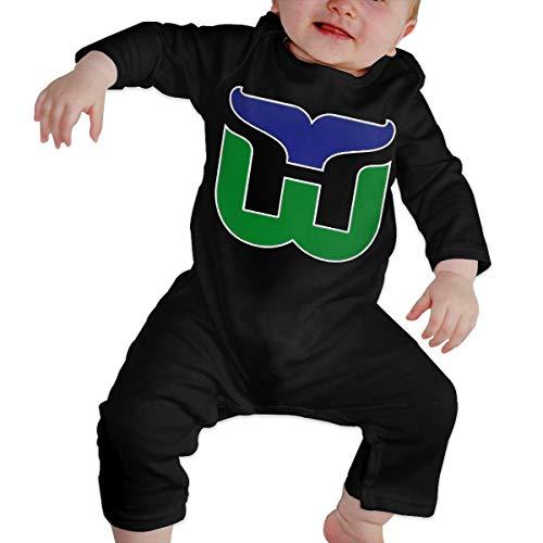 NOT Baby Hartford Whalers Retro Hockey Old School Long Sleeve Jumpsuit Black