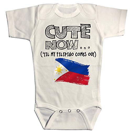 Cute Now Baby Philippines Bodysuit Til My Filipino Comes Out Country Pride Baby/Infant Jumpsuit in White Pick Size NB-18M (18M)