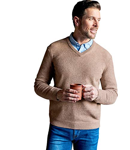 Wool Overs Mens Lambswool V Neck Knitted Sweater Vole Marl M