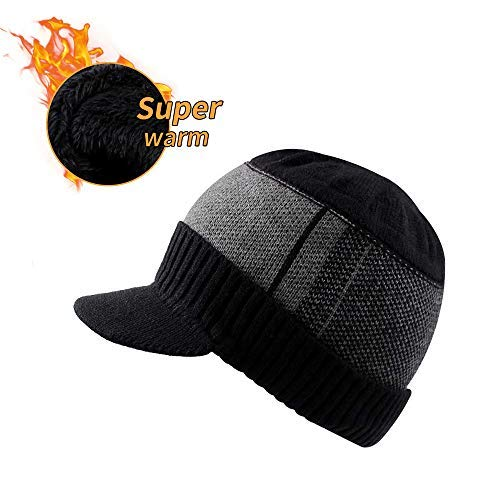 XIAOHAWANG Winter Men Hat Knit Cable Visor Beanie with Fleece Lining  Patchwork Stripe Newsboy Cap with 7c2616fd10