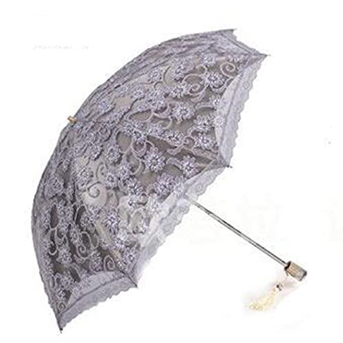 ShenMiDeTieChui Pliegue hacia Arriba Paraguas Sol Paraguas Encaje Vinilo Anti Ultravioleta Sol Paraguas UV protección (Color : Gray)