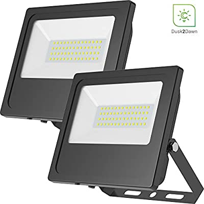 Sunco Lighting 2 Pack 50W LED Flood Light, 250W HID Equivalent, 6000K Daylight Deluxe, 5000 LM, Outdoor Security Light, IP65 Waterproof, Dusk-to-Dawn Photocell Sensor, Rotatable Bracket - ETL