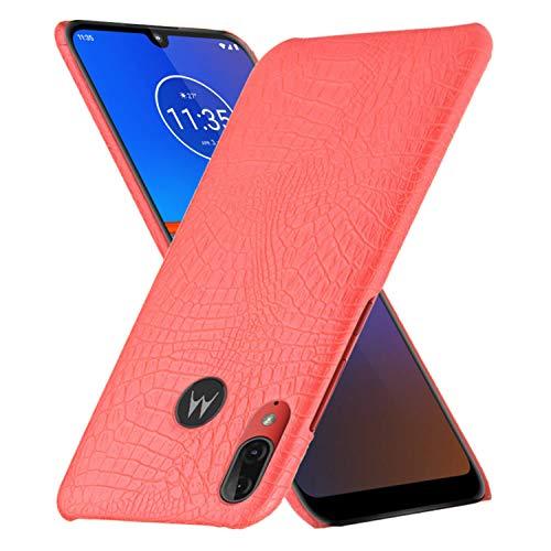 HualuBro Funda para Motorola Moto E6 Plus, Carcasa de Protectora PU Cuero Caso [Ultra-Delgado] [Ligera] Leather Case Cover para Motorola Moto E6 Plus (CRO Rojo)