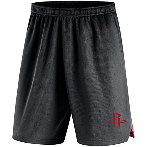 BMSD NBA Shorts Hombre NBA Rockets Jersey Negro Jersey Pantalones de Baloncesto Pantalones Cortos Casuales Jersey, XL