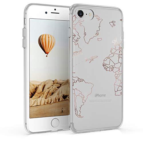kwmobile Cover Compatibile con Apple iPhone 7/8 / SE (2020) - Back Case Custodia Posteriore in Silicone TPU Cover per Smartphone - Back Cover Travel & Explore Oro Rosa/Trasparente