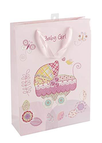 Idena 30210 - Geschenktasche Baby Girl, Größe 34,5 x 25 x 8,5 cm, Geburt, Baby Party, Geschenk, Geschenkverpackung, Tragetasche, Geschenktüte, rosa