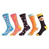 FHCGWZ 5 pcs/Set Classique Coloré Banane Motif Pastèque Femmes De Mode Chaussettes Casual Life Home drôle Crew Socks pour Cadeaux