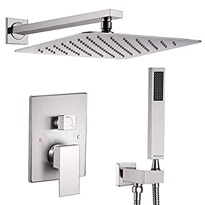 "Esnbia Brushed Nickel Shower System, Shower Faucet Set with Valve and 12"" Rain Shower Head Systems Wall Mounted Shower Combo Set for Bathroom All Metal(Rough in Valve Include?"