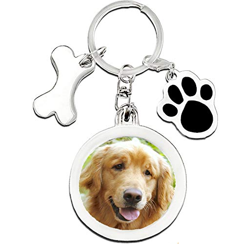 Gwnuqpa Pet Memorial Gifts of Dog Keychain Insert Loss of Dogs Or Cats Picture Frame for Sympathy Gift with Dog Paws and Dog Bone Tags Key Rings (Circle)