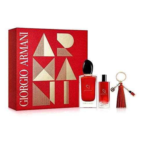 Giorgio Armani Si Passion For Women 3 Piece Set (3.4 Oz Eau De Parfum Spray + 0.5 Oz Eau De Parfum Spray + Key Holder)