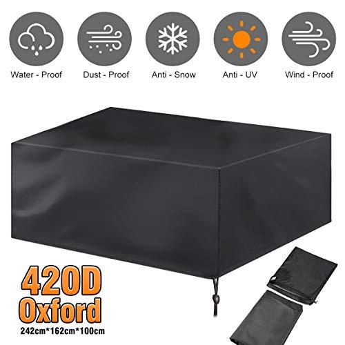 Gartenmöbel Abdeckung, Abdeckplane Gartenmöbel 420D Oxford tuch für Sitzgarnituren , Gartentische und Möbelsets UV-beständig/wasserdicht/ winddicht, abdeckhaube für gartentisch und stuhl und möbel set