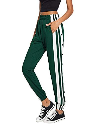 SOLY HUX Damen Hosen Sweatshose Jogginghose Streifen Sweatpants Elastisch Bund Crips Hose Laufenhose mit Taschen, Knöpfe Grün #2 XS