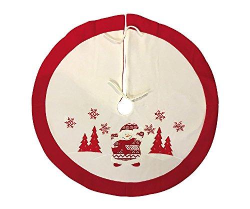 zeitzone Weihnachtsbaumdecke Schneemann Weiß Rot Christbaum-Unterlage Ø 90cm