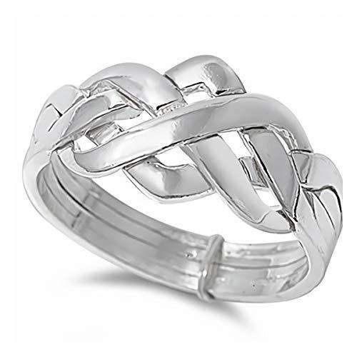 Gemlings Sterling Silber Ring [Puzzle 4 Stück] Süßes Schmuckgeschenk für Frauen