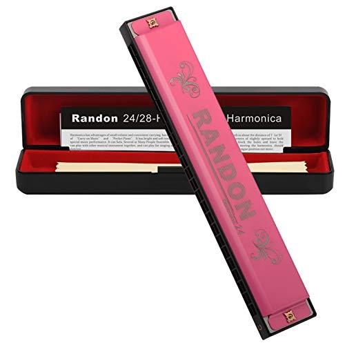 Randon Harmonica 24 Holes Key of C Professional C Polyphony Diatonic Mouth Organ for Blues Folk Jazz Pop Harmonica for Adult Kid Children Student Beginner Gift (Pink)
