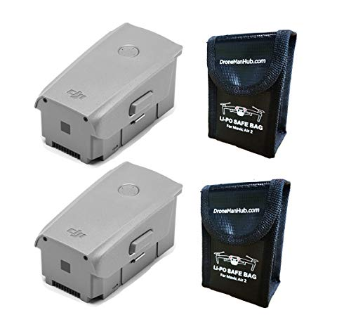 Mavic Air 2 Intelligent Flight OEM Battery with Dronemanhub Safety Bag for Battery Storage, Two Packs (for Mavic Air 2 Drone ONLY)