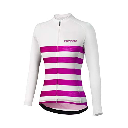Uglyfrog Damen Wollmantel Business Gifts Winterjacke Lange Ärmel Fleece Thermisches Fahrradtrikot Vlies Thermo Langarm Shirt Streifen-Design