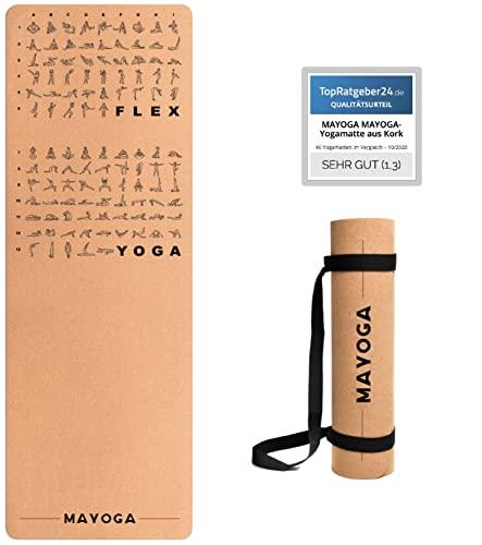 MAYOGA-yogamatta av kork med flex och yogaövningar + extra bärrem halkfri, hypoallergen och...