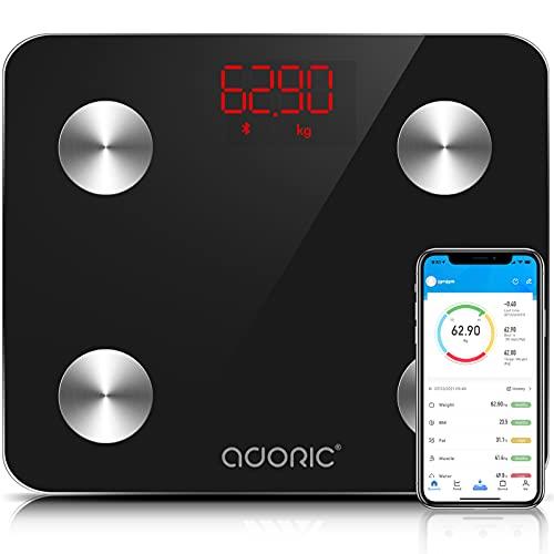 Báscula de Baño Báscula Inteligente Bluetooth Báscula Digital con IMC de Alta Precisión, Monitores de Peso Corporal Maximo 180kg para Andriod (4.0 y superior) y IOS(8.0 y superior) (Negro oscuro)