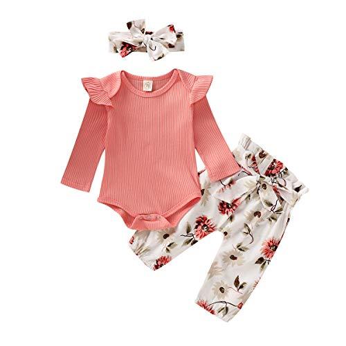 Xuefoo - Conjunto de ropa infantil de manga larga para bebé o niña, con volantes, conjunto de 3 piezas Rose À Manches Longues 12-18 Meses
