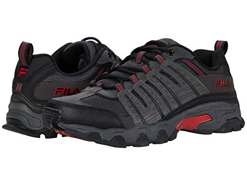 Fila Mens Westmount Trail Running Sneaker EVA Comfort Footbed Shoe, Grey/Black/Red, Size 10