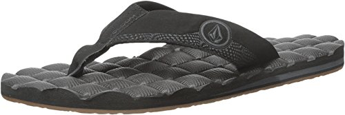 Volcom Men's Recliner Sandal Flip Flop, Black Destructor, 12 N US