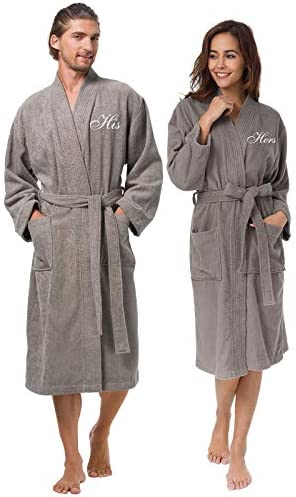 AW BRIDAL Terry Cloth Robes for Men and Women Cotton Kimono Robes Warm Soft Couple Robe Sets product image