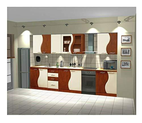 Naka24 Küche 260cm Küchenzeile Welle MDF Birne-Vanilla