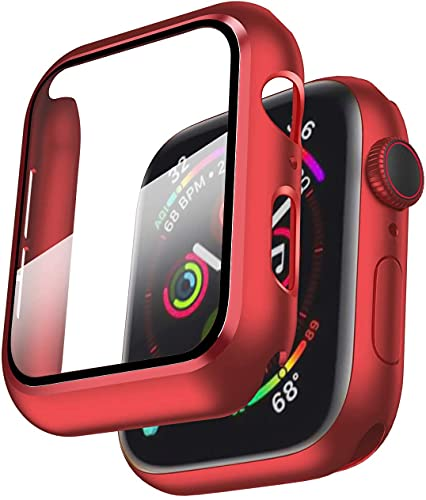 Smiling Case Compatible with Apple Watch Series 6/SE/Series 5/Series 4 44mm with Built in Tempered Glass Screen Protector,Overall Protective Hard PC Case Ultra-Thin Cover- Red
