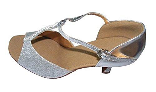 Pobofashion Damenschuhe mit dünnem T-Riemen und glitzernden Silberperlen für lateinamerikanische Tänze (EU40, Silber)