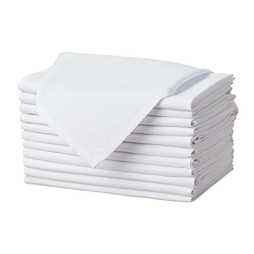 Remedios White Polyester Cloth Napkins - 17 x 17 Inch Soft...