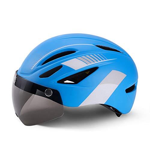 HELMET - Bicicleta unisex para adultos, ajustable, de alta densidad, con protección de PC, con parabrisas y luz trasera, para hombres, mujeres, ciclismo, ciclismo de montaña (azul y blanco)