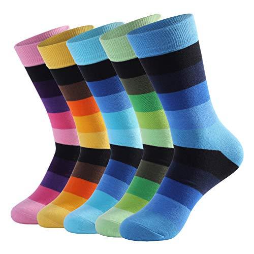 LifeWheel Men Women Colorful Fun Striped Pattern Cotton Long Casual Dress Crew Socks