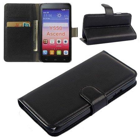 Custodia Flip Orizzontale Pelle per Huawei Ascend Y550 con Stand, Tasche Porta Carte E Chiusura Magnetica Colore Nero