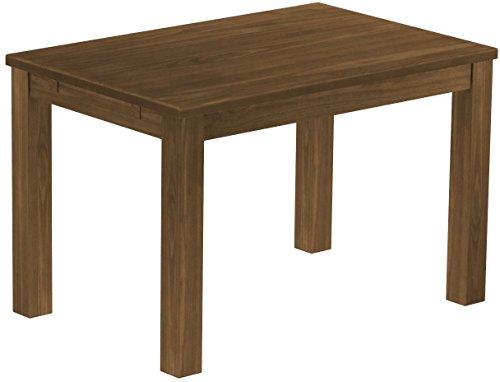 Brasilmöbel Esstisch Rio Classico 120x80 cm Nussbaum Massivholz Pinie Holz Esszimmertisch Echtholz Größe und Farbe wählbar ausziehbar vorgerichtet für Ansteckplatten