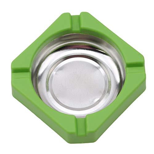 KSFBHC Inicio Cenicero Plástico Acero Inoxidable Cuadrado Cenicero Cenicero Oficina Cigarette Accesorios (Color : Green)