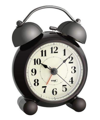 TFA Dostmann Analoger Glockenwecker Nostalgie, 60.1014, leises Uhrwerk, lauter Alarm mit Doppelglocke Kunststoff, Metall
