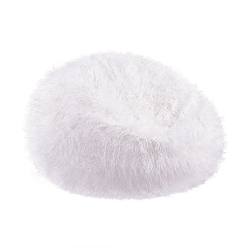 White Plush Faux Fur Bean Bag Chair for Adult and kids