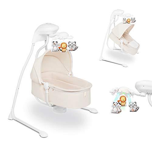 Lionelo Henny 3in1 Baby Wippe Babyschaukel und Babyliegestuhl Babywippe Elektrisch mit Liegefunktion 10 Melodien Karussell USB-Anschluss Moskitonetz Weiß