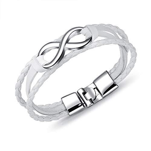 Bracelet Cuir Homme Manchette,Bracelet en Cuir Poli Infini Classique À La Main Tressé Blanc Bracelet Manchette avec Fermoir Femmes Hommes Charme Bijoux Amitié Cadeau 20 Cm