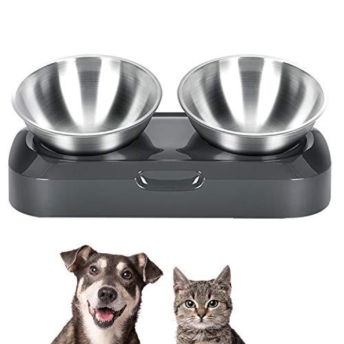 PewinGo Futternapf Katze Rostfreier Stahl, Rutschfeste Katzenfütterer mit 15° Kipphals-Schutzschale für Haustiere,Katzen und Welpen
