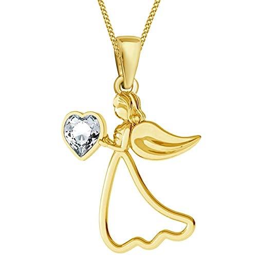 Herz Schutzengel verziert mit Kristallen von Swarovski® Anhänger mit Kette 925 Echt Silber Vergoldet Gold Engel Flügel Halskette (B-Gold, 45)